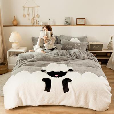 2019新款-羊羔绒刺绣款保暖四件套 床单款四件套1.5m(5英尺)床 小羊肖恩-灰