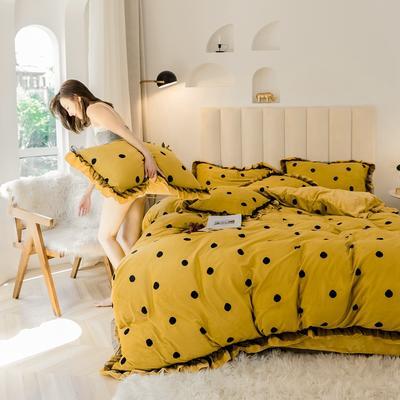 2019新款-蕾丝花边宝宝绒圆舞曲四件套系列 床单款三件套1.2m(4英尺)床 圆舞曲黄