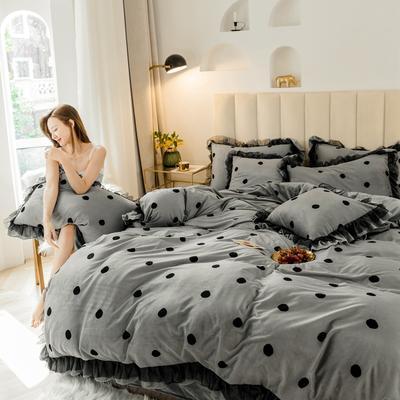2019新款-蕾丝花边宝宝绒圆舞曲四件套系列 床单款四件套1.5m(5英尺)床 圆舞曲灰