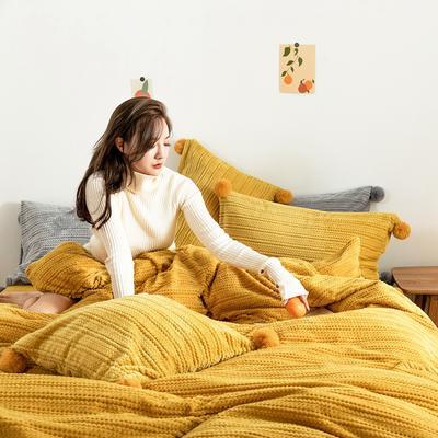 2019新款-球球款针织绒保暖四件套 床笠款四件套1.8m(6英尺)床 球球款-姜黄色
