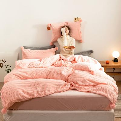 2019新款-球球款针织绒保暖四件套 床单款三件套1.2m(4英尺)床 球球款-奶油粉