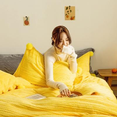 2019新款-球球款针织绒保暖四件套 床笠款四件套1.8m(6英尺)床 球球款-嫩黄色