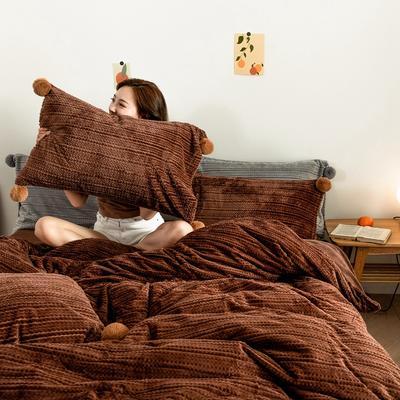 2019新款-球球款针织绒保暖四件套 床笠款四件套1.8m(6英尺)床 球球款-深咖啡