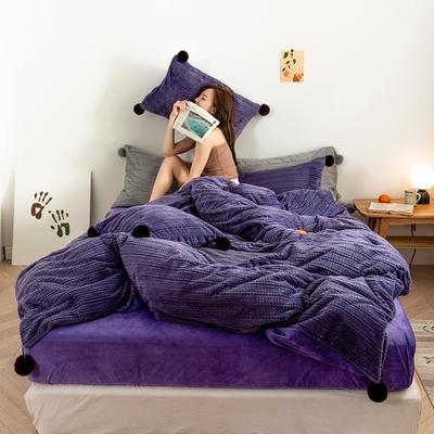 2019新款-球球款针织绒保暖四件套 床笠款四件套1.8m(6英尺)床 球球款-优雅紫