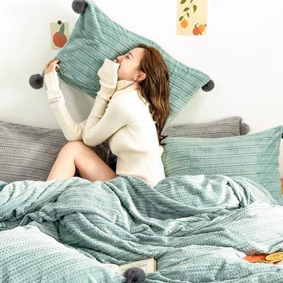 2019新款-球球款针织绒保暖四件套 床笠款四件套1.8m(6英尺)床 球球款-月光蓝