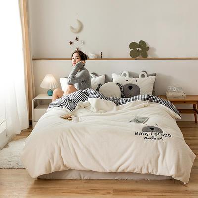 2019新款-兔兔绒刺绣款保暖四件套 床单款四件套1.8m(6英尺)床 笨笨白熊