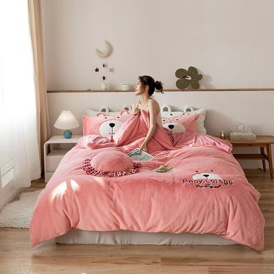 2019新款-兔兔绒刺绣款保暖四件套 床单款四件套1.8m(6英尺)床 笨笨粉熊