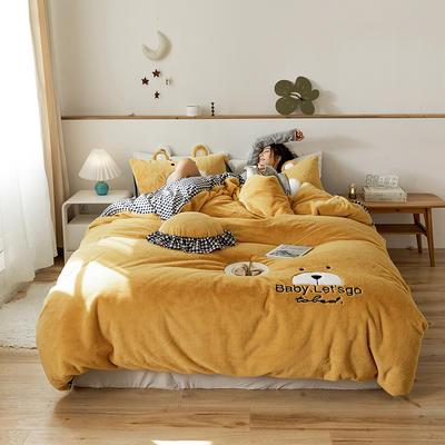 2019新款-兔兔绒刺绣款保暖四件套 床单款四件套1.8m(6英尺)床 笨笨黄熊