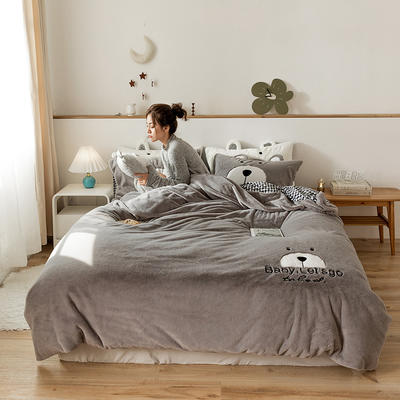 2019新款-兔兔绒刺绣款保暖四件套 床单款三件套1.2m(4英尺)床 笨笨灰熊