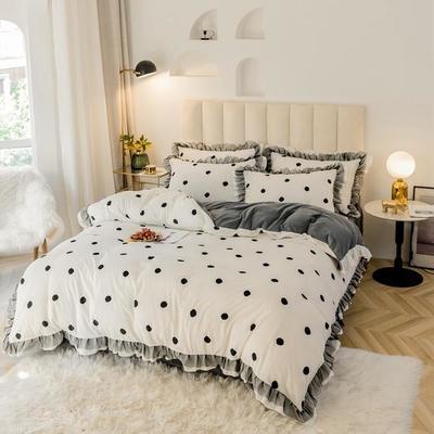 2019新款-蕾丝花边宝宝绒圆舞曲四件套系列 床单款三件套1.2m(4英尺)床 圆舞曲白