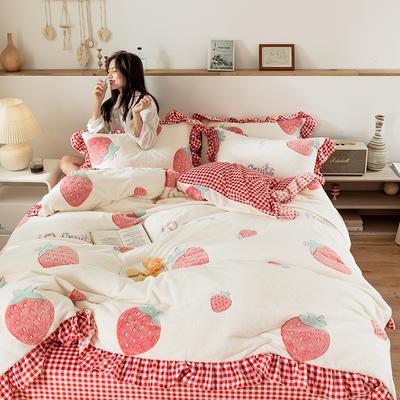 2019新款-公主风雪花绒四件套 床单款三件套1.2m(4英尺)床 草莓圣代