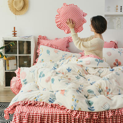 2019新款-公主风雪花绒四件套 床单款四件套1.5m(5英尺)床 朵朵