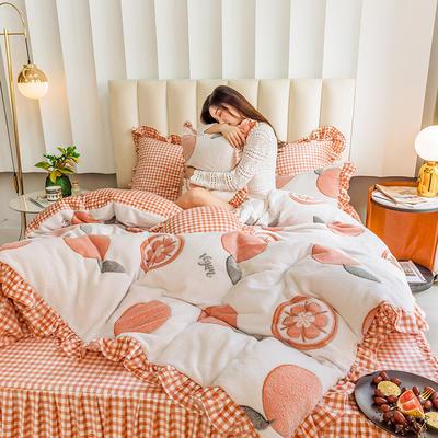 2019新款-公主风雪花绒四件套 床单款三件套1.2m(4英尺)床 果粒橙