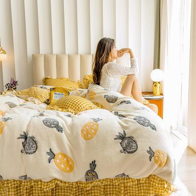 2019新款-公主风雪花绒四件套 床单款三件套1.2m(4英尺)床 果味派