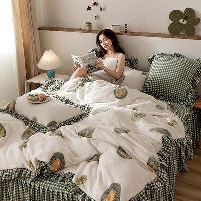 2019新款-公主风雪花绒四件套 床单款三件套1.2m(4英尺)床 酪梨