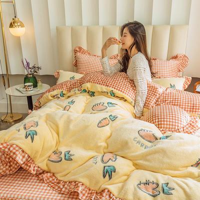 2019新款-公主风雪花绒四件套 床单款三件套1.2m(4英尺)床 奶昔萝卜