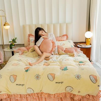 2019新款-公主风雪花绒四件套 床单款三件套1.2m(4英尺)床 柠檬