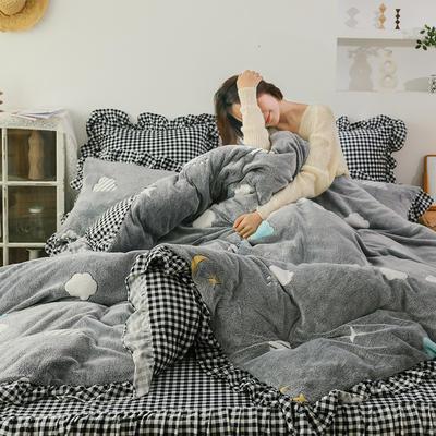 2019新款-公主风雪花绒四件套 床单款四件套1.5m(5英尺)床 时空
