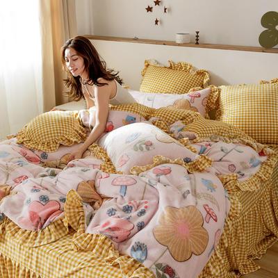 2019新款-公主风雪花绒四件套 床单款四件套1.5m(5英尺)床 童话