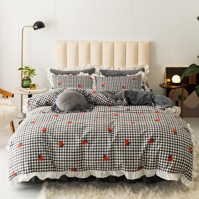 2019新款公主风棉+绒褶皱款花边四件套 床单款1.5m床 格子草莓