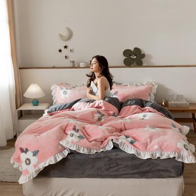 2019新款-公主风雪花绒四件套 床单款四件套1.8m(6英尺)床 花蕊