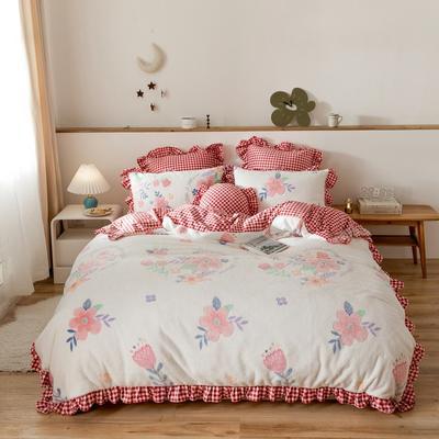 2019新款-公主风雪花绒四件套 床单款四件套1.5m(5英尺)床 圆梦