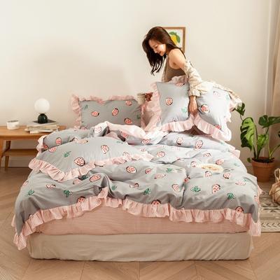 2020新款-公主风全棉梦系列四件套 床单款三件套1.2m(4英尺)床 草莓梦