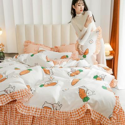 2020新款-公主风全棉梦系列四件套 床单款三件套1.2m(4英尺)床 萌宝白