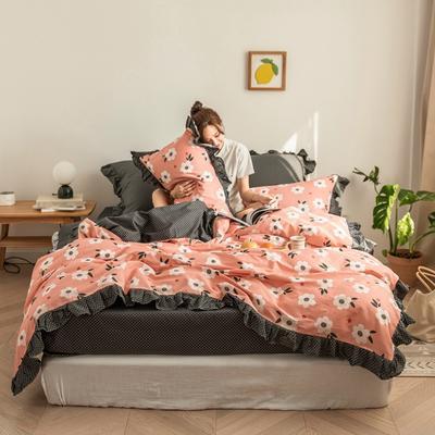 2020新款-公主风全棉梦系列四件套 床单款四件套1.5m(5英尺)床 梦芭蕾-粉