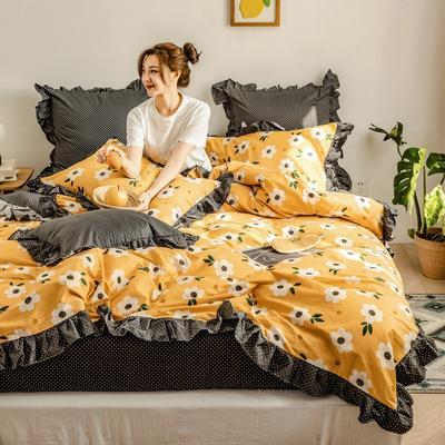 2020新款-公主风全棉梦系列四件套 床单款四件套1.5m(5英尺)床 梦芭蕾-黄
