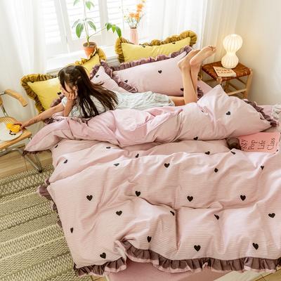 2020新款-全棉公主风黑纱蕾丝系列四件套 床单款四件套1.5m(5英尺)床 彼心-粉