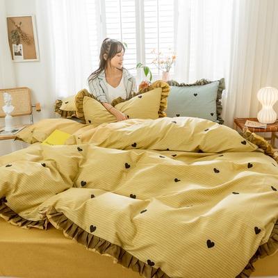 2020新款-全棉公主风黑纱蕾丝系列四件套 床单款四件套1.5m(5英尺)床 彼心-黄