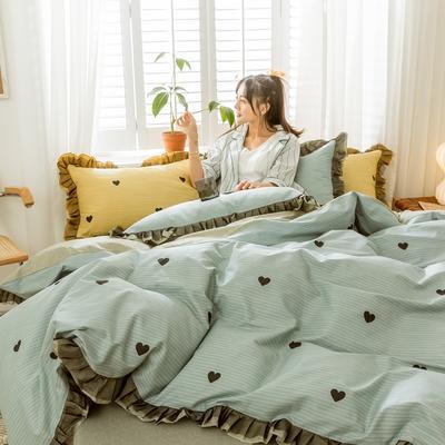2020新款-全棉公主风黑纱蕾丝系列四件套 床单款四件套1.5m(5英尺)床 彼心-兰