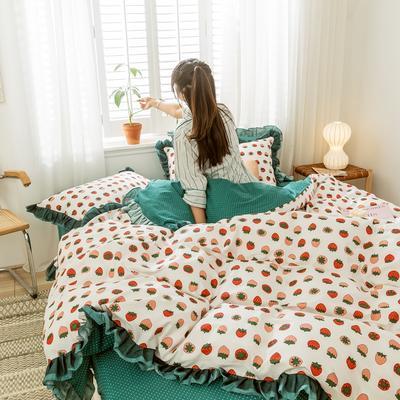 2020新款-全棉公主风黑纱蕾丝系列四件套 床单款四件套1.5m(5英尺)床 洛丽塔