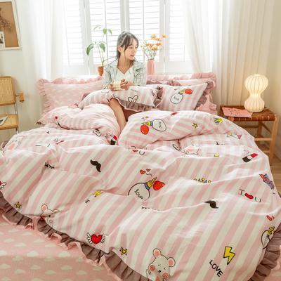 2020新款-全棉公主风黑纱蕾丝系列四件套 床单款三件套1.2m(4英尺)床 摩登时代