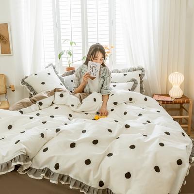 2020新款-全棉公主风黑纱蕾丝系列四件套 床单款四件套1.5m(5英尺)床 星辰物语-白