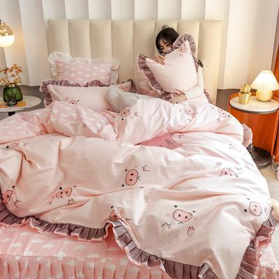 2020新款-全棉公主风黑纱蕾丝系列四件套 床单款三件套1.2m(4英尺)床 猪小妹