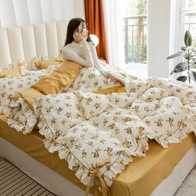 2020新款-公主风全棉韩式田园风系列四件套 床单款1.5m(5英尺)床 【开版】伊甸园