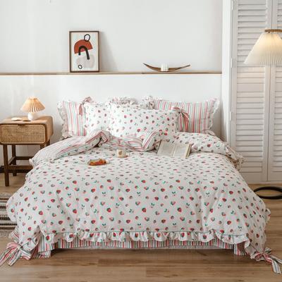 2020新款-公主风全棉韩式田园风系列四件套 床单款1.5m(5英尺)床 彩虹糖