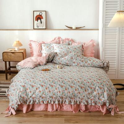 2020新款-公主风全棉韩式田园风系列四件套 床单款1.5m(5英尺)床 花卉