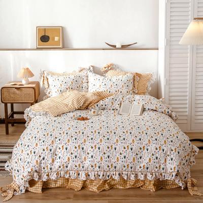 2020新款-公主风全棉韩式田园风系列四件套 床单款1.5m(5英尺)床 熊乐园