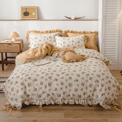 2020新款-公主风全棉韩式田园风系列四件套 床单款1.5m(5英尺)床 伊甸园