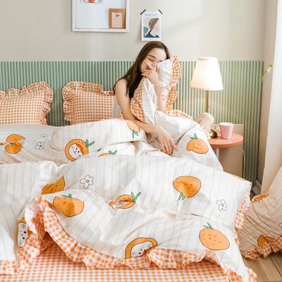 2020新款-公主风萌宝系列四件套 床单款三件套1.2m(4英尺)床 桔子猫
