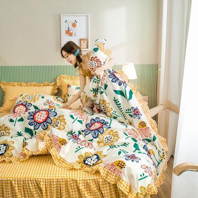 2020新款-公主风萌宝系列四件套 床单款四件套1.5m(5英尺)床 太阳花