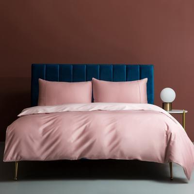 2020新款100支澳棉纯色双拼提花四件套 1.5m床单款四件套 胭脂藕粉
