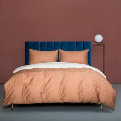 2020新款100支澳棉纯色双拼提花四件套 1.5m床单款四件套 奥丽橙