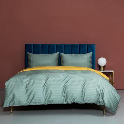 2020新款100支澳棉纯色双拼提花四件套 1.5m床单款四件套 米勒松绿