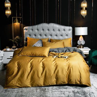 2020新款100支澳棉提花纯色双拼滚边款四件套 1.5m床单款四件套 沃斯古金黄