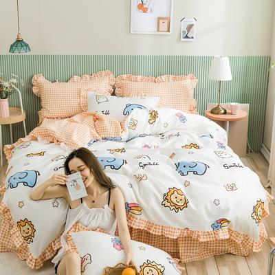 2020新款全棉公主风梦系列&萌宝系列四件套(床裙款) 1.2m床裙款三件套 动物乐园