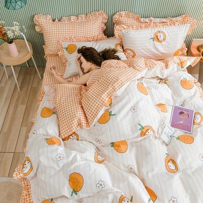 2020新款全棉公主风梦系列&萌宝系列四件套(床裙款) 1.2m床裙款三件套 桔子猫
